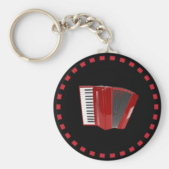 Accordion: The red accordion Basic Round Button Key Ring
