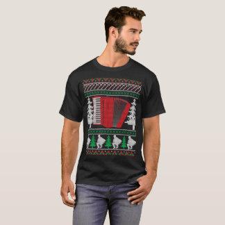 Accordion Ugly Christmas Sweater Band T-Shirt