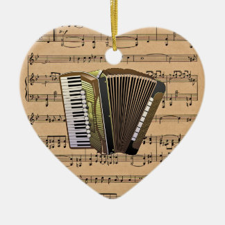 Accordion With Sheet Music Background Christmas Ornament