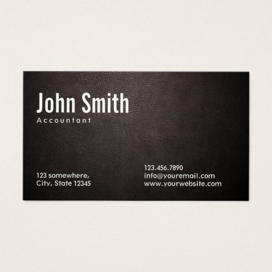 Accountant Accounting Stylish Dark Leather Business Card