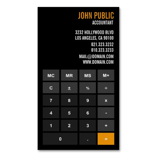 Accountant App Calculator Magnetic Business Card