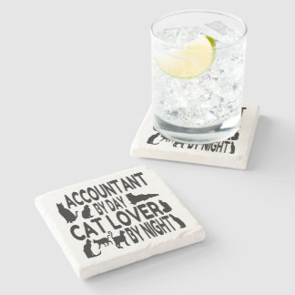Accountant by Day Cat Lover by Night Stone Coaster
