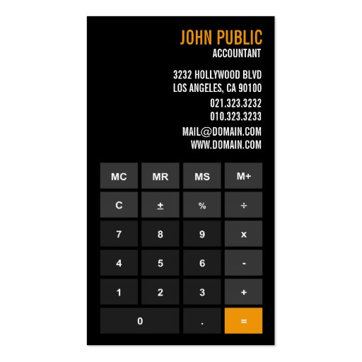 Create your own accountant business cards for Build your own home calculator