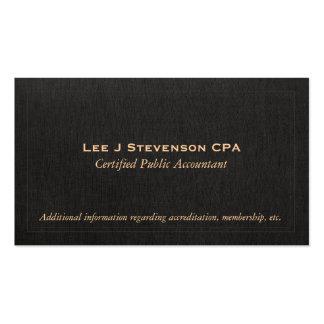 Accountant CPA Faux Black Linen Business Card