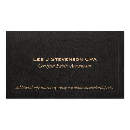 Accountant CPA Faux Black Linen Business Card
