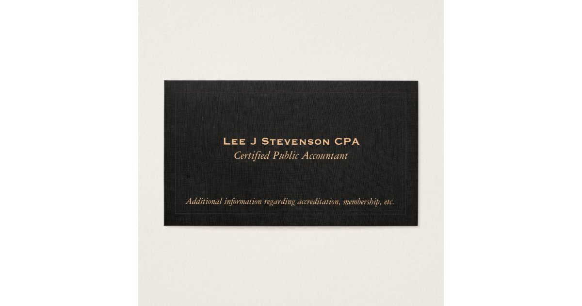 Black linen business cards choice image card design and card template accountant cpa faux black linen business card zazzle reheart choice image reheart Gallery