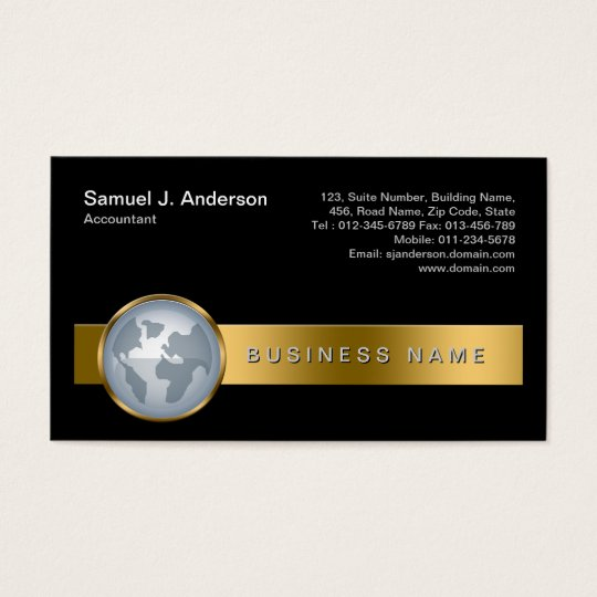 Accountant Finance Services Gold Stripe Globe Icon Business