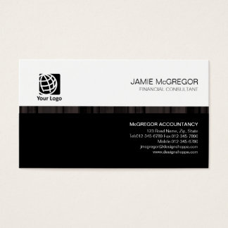Accountant Financial Services Simple Stripe Black Business Card