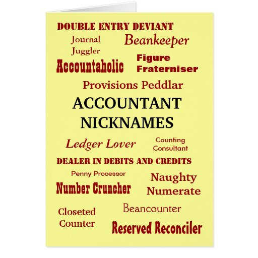 ACCOUNTANT NICKNAMES Good Luck Cards