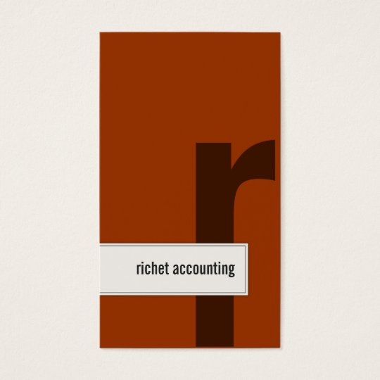 Accounting Business Card Bold Monogram Orange