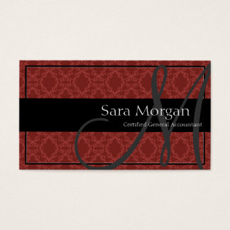 Accounting Business Card - Classy Monogram Damask