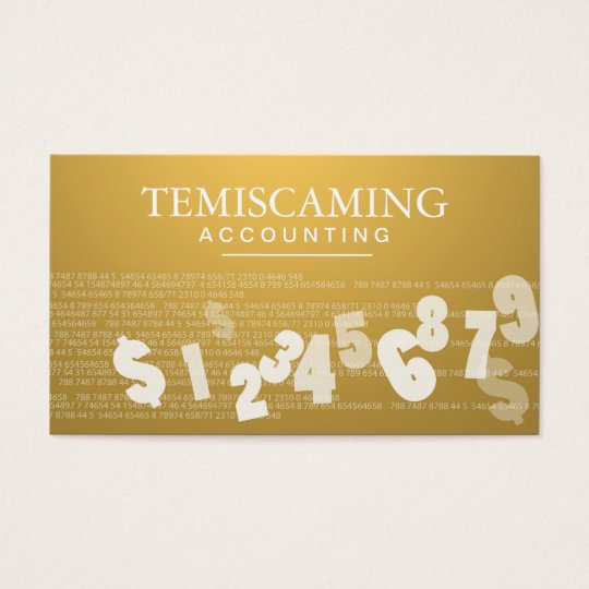 Accounting Business Card - Gold Numbers & Tax