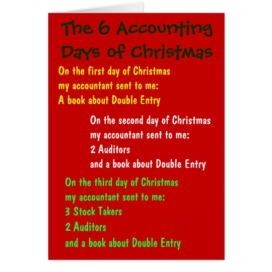 Accounting Days of Christmas Accountant Joke Song Card