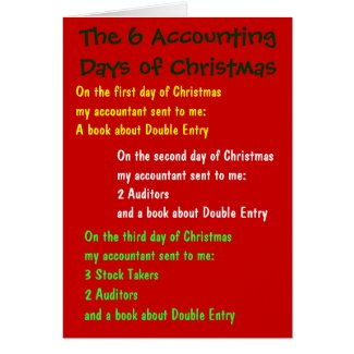 Accounting Days of Christmas Accountant Song Card