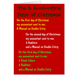 Accounting Days of Christmas Accountant Words Song Card