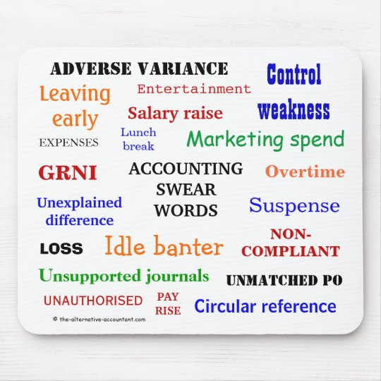 ACCOUNTING SWEAR WORDS - Accounting Expletives Mouse Mat