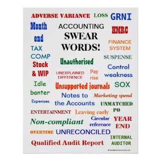 ACCOUNTING SWEAR WORDS Annoying Funny Accountant Poster