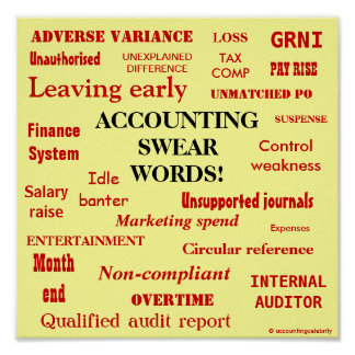 ACCOUNTING SWEAR WORDS! Black 'n' Red Poster