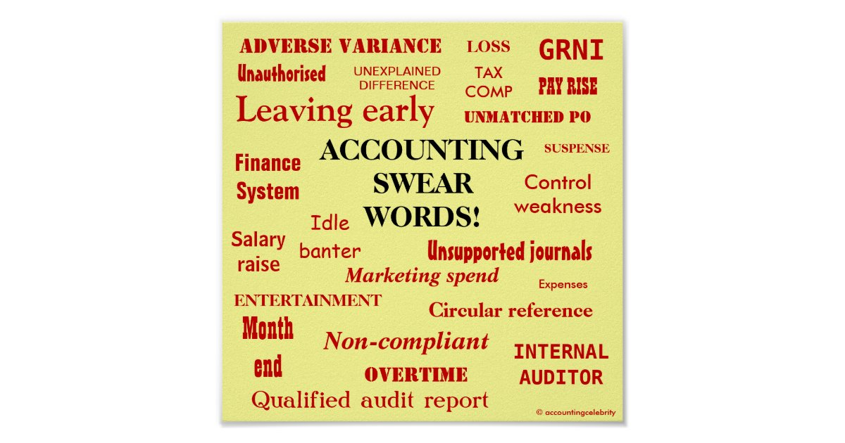 ACCOUNTING SWEAR WORDS! Black 'n' Red Poster | Zazzle.co.uk