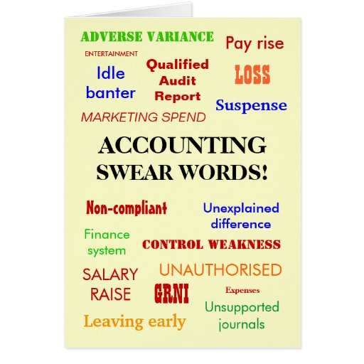 Accounting Swear Words! Blank Greeting Greeting Cards