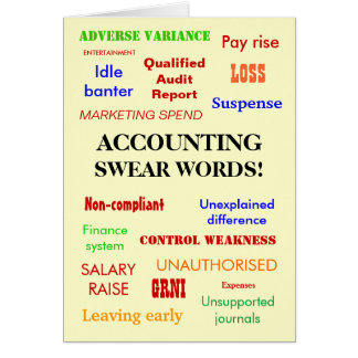 Accounting Swear Words! (multicolour) Greeting Card