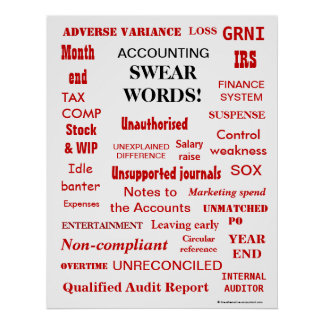 ACCOUNTING SWEAR WORDS ! Rude Black 'n' Red Poster