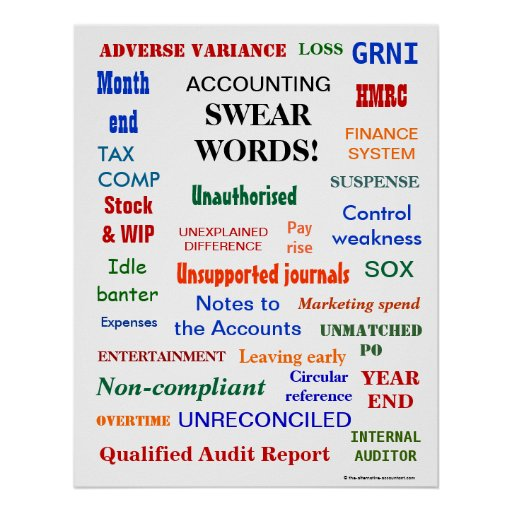 ACCOUNTING SWEAR WORDS ! (UK English) Posters