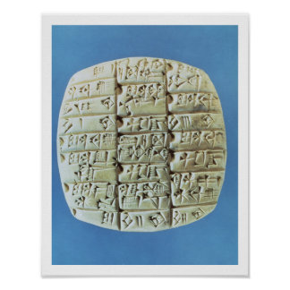 Accounts Table with cuneiform script, c.2400 BC (t Poster