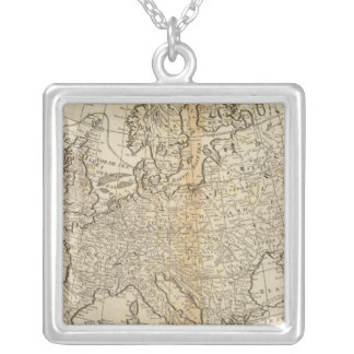 Accurate Map of Europe Silver Plated Necklace