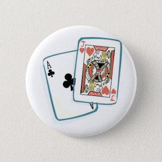 Ace and Jack Poker Cards 6 Cm Round Badge