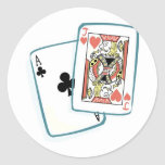 Ace and Jack Poker Cards Round Stickers