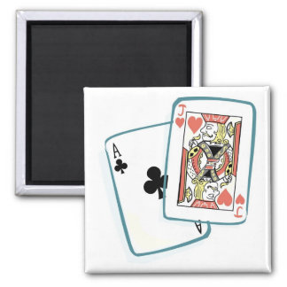 Ace and Jack Poker Cards Square Magnet