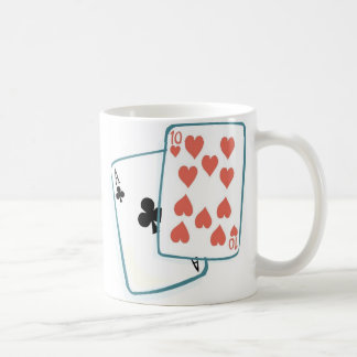 Ace and Ten of Hearts Playing Cards Basic White Mug