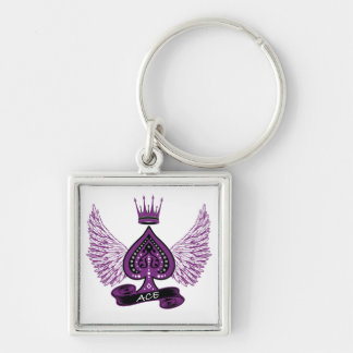 Ace Asexual LGBT Pride Wings and Crown Silver-Colored Square Key Ring