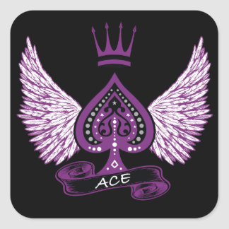 Ace Asexual LGBT Pride Wings and Crown Square Sticker