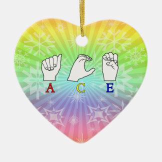 ACE ASL FINGERSPELLED NAME SIGN CERAMIC HEART DECORATION