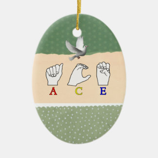 ACE ASL FINGERSPELLED NAME SIGN Double-Sided OVAL CERAMIC CHRISTMAS ORNAMENT