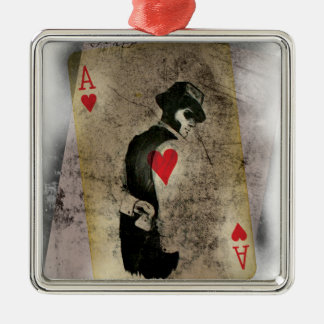 Ace Heart Hustler USA Silver-Colored Square Decoration