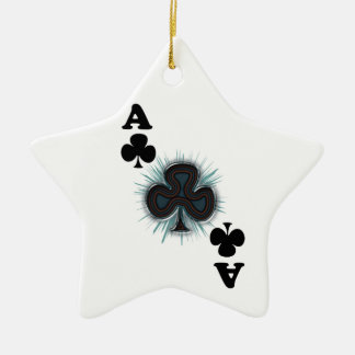 Ace of clubs ceramic star decoration