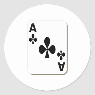 Ace of Clubs Playing Card Round Sticker