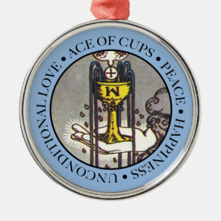 Ace of Cups Round Ornament with Text
