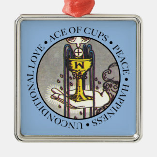 Ace of Cups Square Ornament with Text