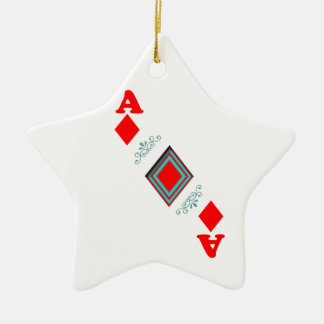 Ace of diamonds Double-Sided star ceramic christmas ornament