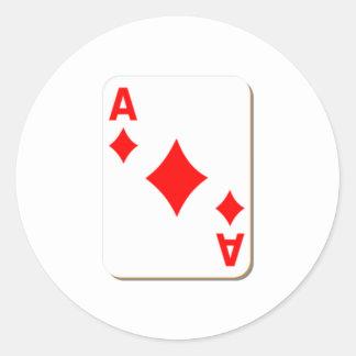 Ace of Diamonds Playing Card Classic Round Sticker