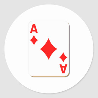 Ace of Diamonds Playing Card Round Sticker