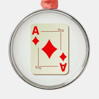 Ace of Diamonds Playing Card Silver-Colored Round Decoration