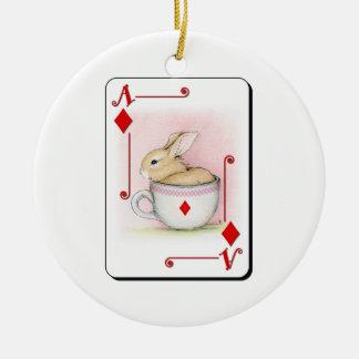 Ace of Diamonds Round Ceramic Decoration