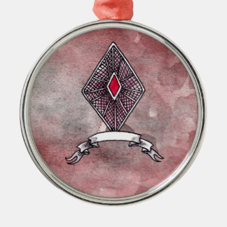Ace of Diamonds Silver-Colored Round Decoration