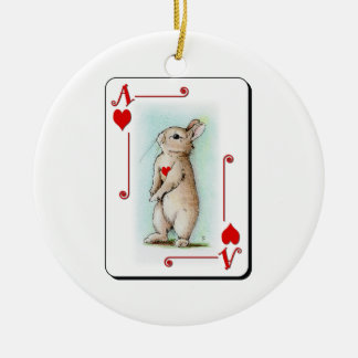 Ace of Heart Double-Sided Ceramic Round Christmas Ornament