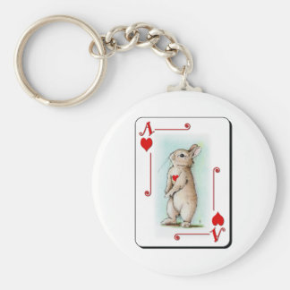 Ace of Hearts Basic Round Button Key Ring